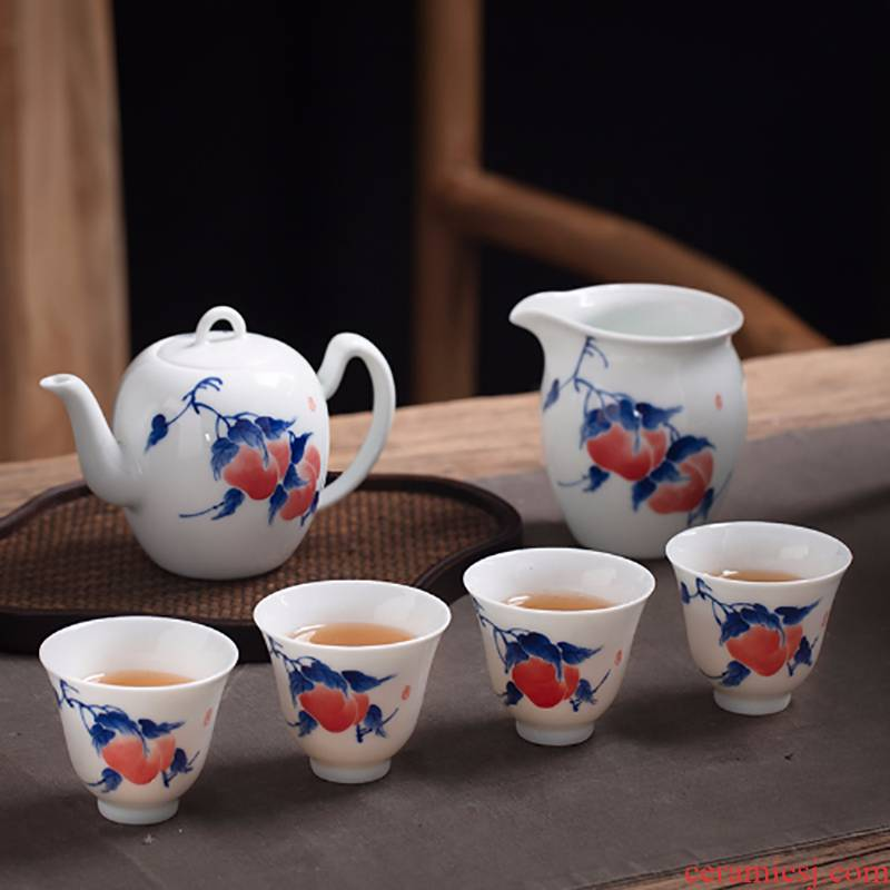 Jingdezhen hand - made porcelain cup sample tea cup work hand single cup teapot master cup home of kung fu tea set
