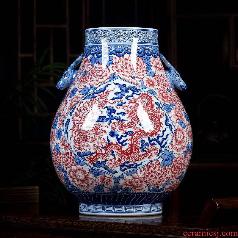 Jingdezhen ceramics antique hand - made youligong red dragon grain ears of blue and white porcelain porcelain tube vase expressions using furnishing articles