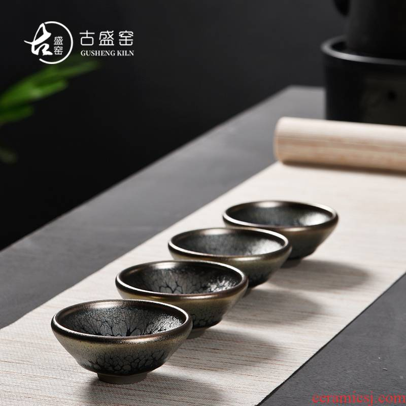 Ancient sheng up new gift boxes jianyang handiwork yellow partridge droplets folding of the expressions using masters cup ceramic lamps of iron ore