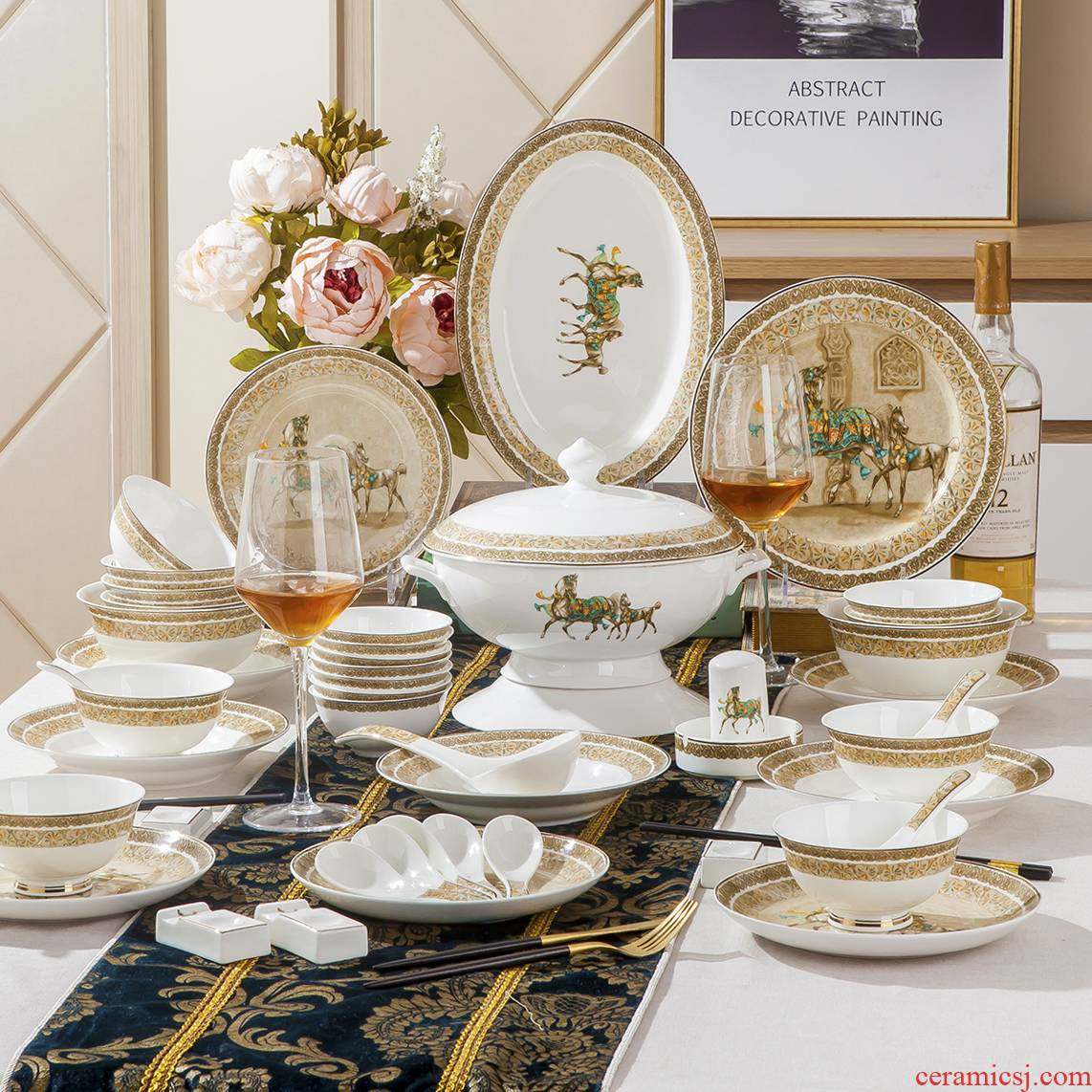 Dishes suit household combination of European jingdezhen ipads porcelain tableware Dishes chopsticks Chinese ceramic bowl Dishes for dinner
