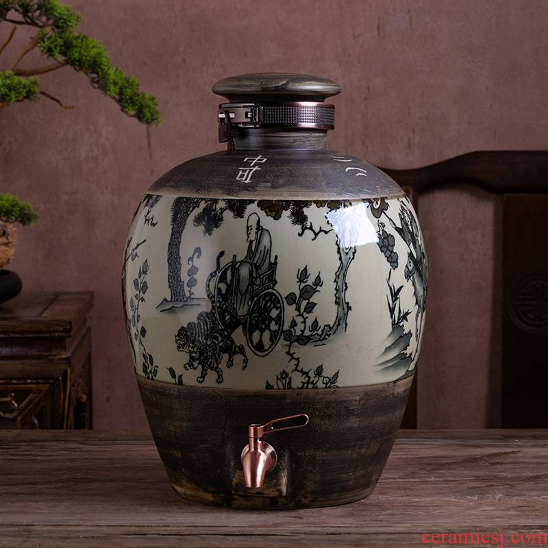 Jingdezhen ceramic bottle aged wine jar 10 jins 20 jins 30 jins 50 kg to household sealed bottle it