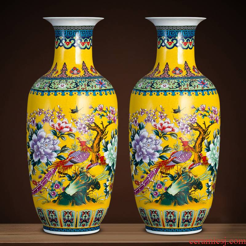 Jingdezhen ceramics vase landing large modern Chinese flower arranging sitting room European TV ark place ornament