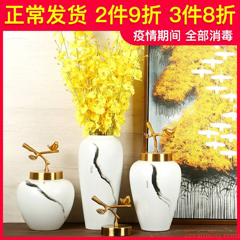Jingdezhen ceramics manual white vase is I and contracted sitting room of Chinese style household decorative furnishing articles suit arranging flowers