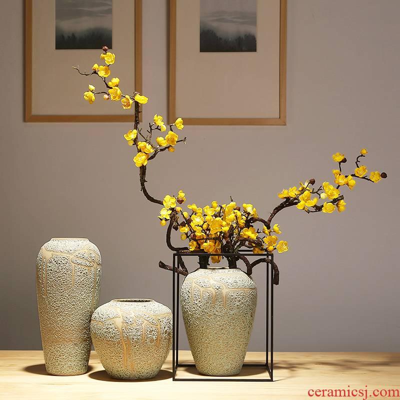 Jingdezhen crafts vase modern creative home porch new Chinese modern pottery and porcelain vase decoration