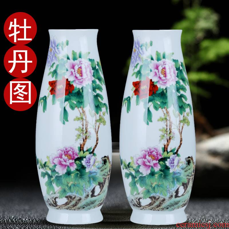 Jingdezhen ceramic lucky bamboo vase circle expressions using large living room TV cabinet put heavy dry flower is placed on the ground