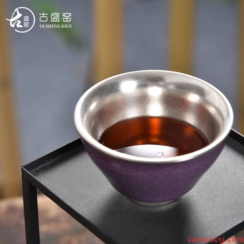 Ancient sheng up new gift boxes silver ceramic coppering. As silver sample tea cup single CPU master cup brother your up up with pa silver cup