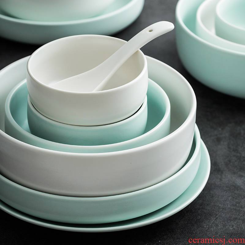 Scene satisfied INS bowl Nordic mint green ceramic creative plate household contracted dishes plate suit