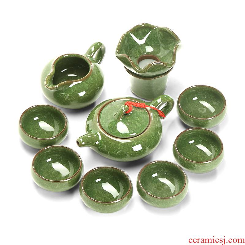 Green ice crack tea set of household ceramic teapot teacup only 6 small Japanese kung fu tea set office