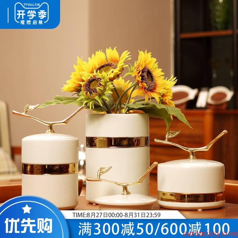 American ceramic vase light key-2 luxury furnishing articles of modern living room TV cabinet desktop dry flower arranging porcelain creative wedding gift