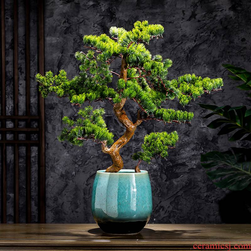 Black flower pot green balcony decoration indoor the plants contracted the new Chinese style green vase of large diameter ceramic POTS