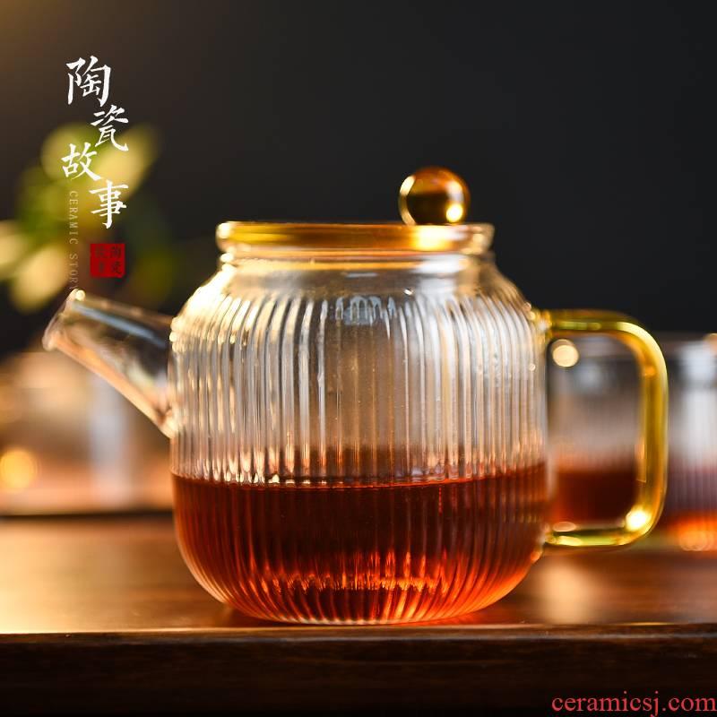 Ceramic story glass teapot high - temperature thickening teapot household teapot tea set tea separation