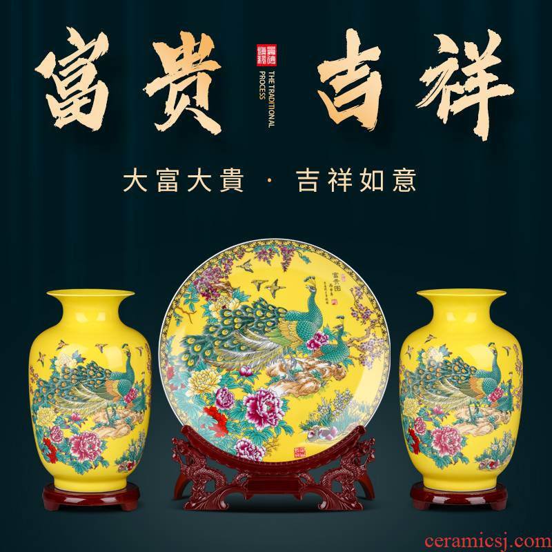 Jingdezhen ceramics three - piece floret bottle furnishing articles or flower arrangement of Chinese style household wine sitting room decoration