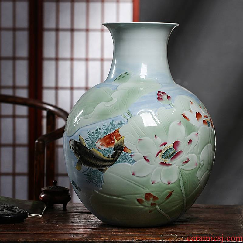 The Master of jingdezhen ceramic vase landing hand carved lotus Chinese style living room decoration office furnishing articles