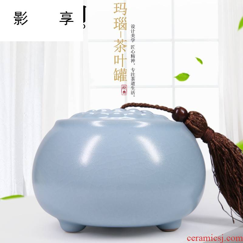 Shadow enjoy your up caddy fixings checking ceramic large pu 'er tea tea storage box green tea your porcelain sealed as cans LHJY