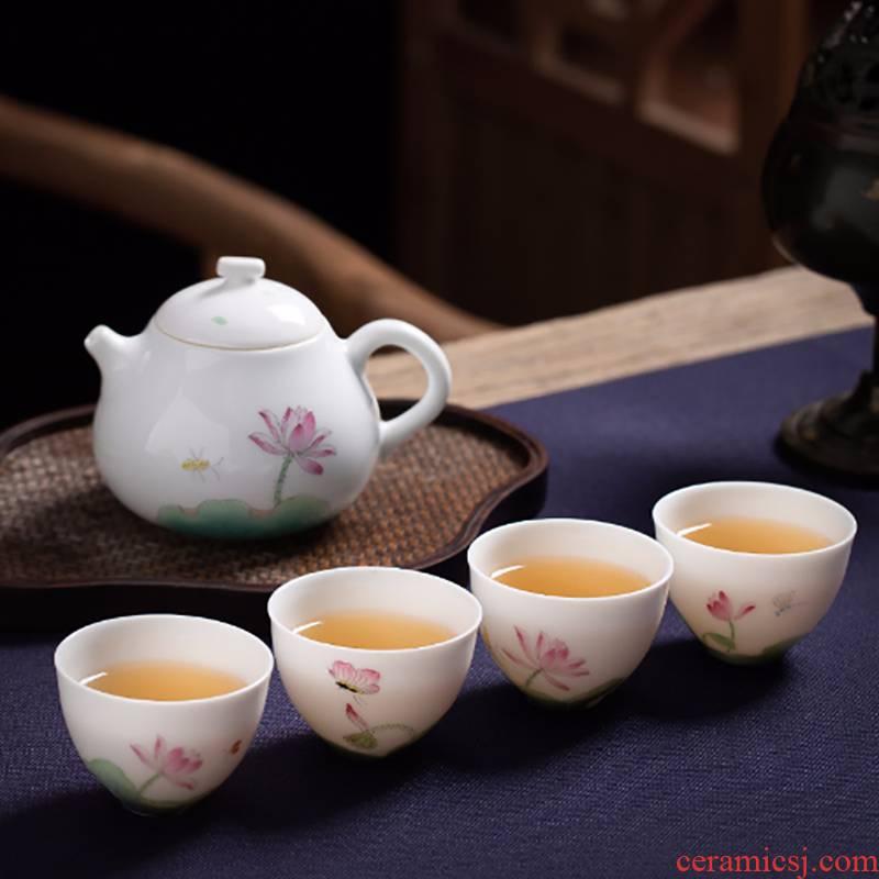 Suet jade porcelain ceramic masters cup hand - made lotus home white porcelain kung fu tea set cup sample tea cup teapot