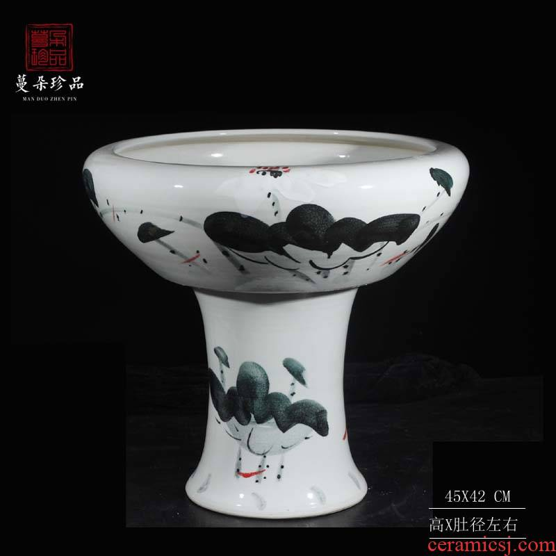 Jingdezhen hand - made lotus high tank high ceramic water shallow cylinder courtyard sitting room balcony goldfish bowl
