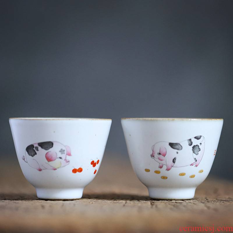 """Gather your porcelain jingdezhen hand - made """"couples scene masters cup cup pig year auspicious wedding gift box to the CPU"""