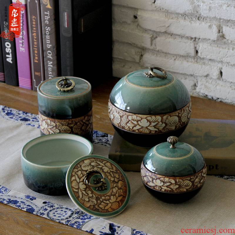Shadow enjoy | jingdezhen ceramic up caddy fixings of primitive simplicity hand - carved caddy fixings JH