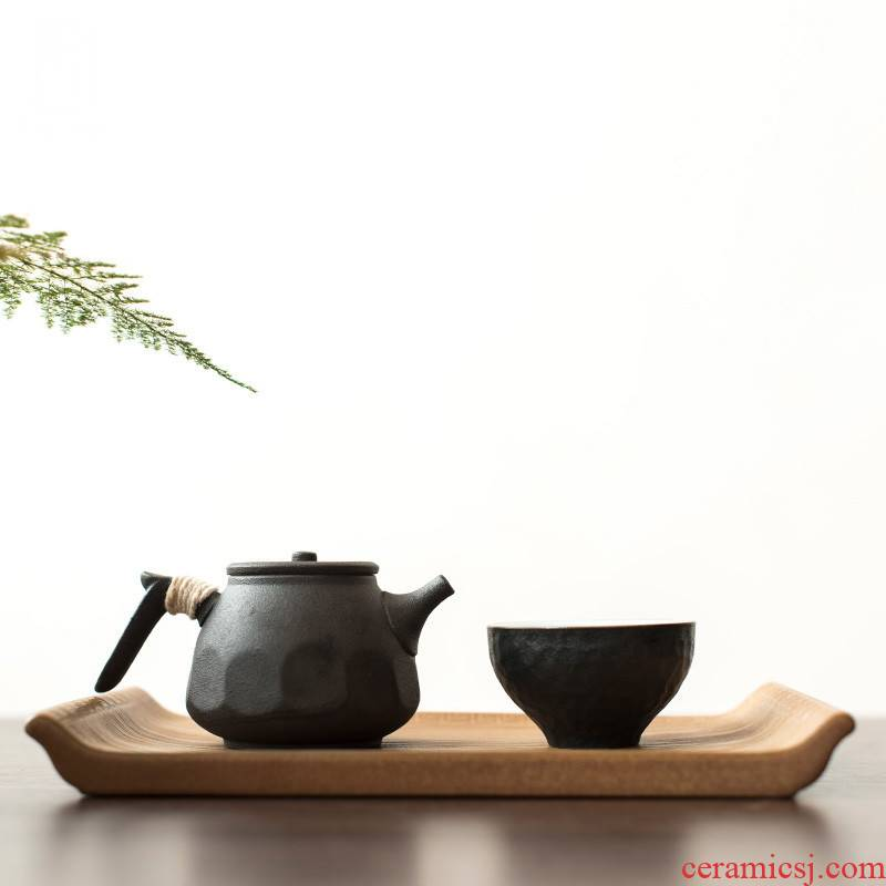 Poly real (coarse pottery checking scene up dry ground single - layer saucer small ceramic tea sets a single tea tray zen volume