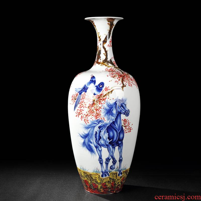 Animals and jingdezhen blue and white color bucket hand - made vases of flowers and birds hei vase is placed immediately