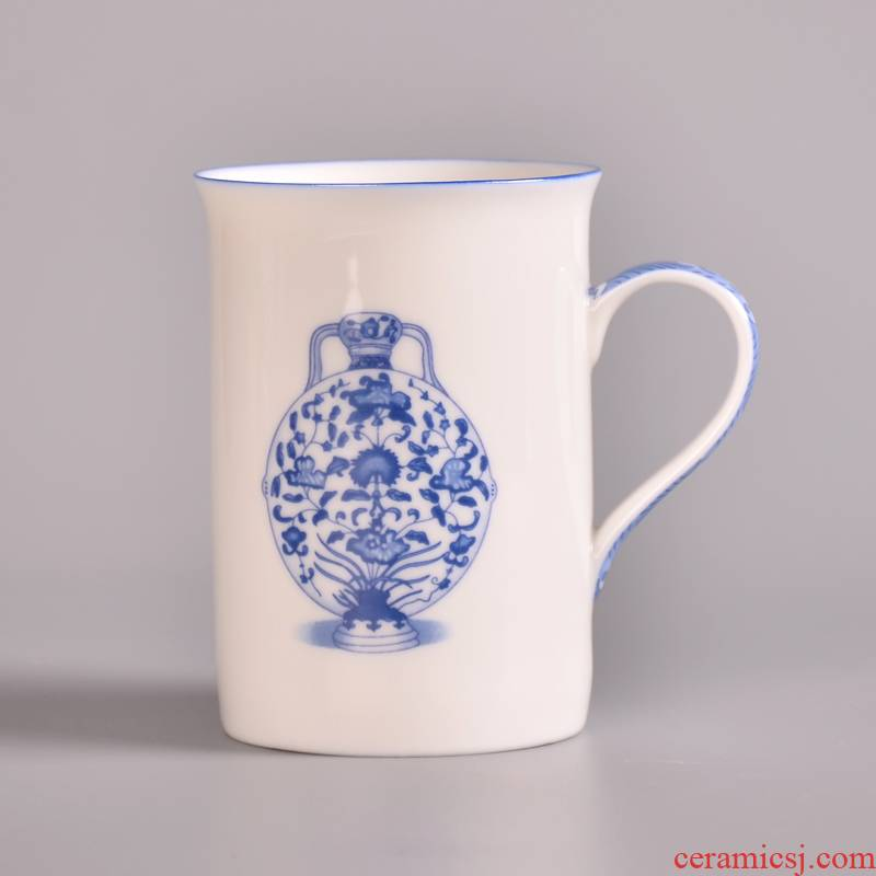 Ceramic handle large cup cup individual cup 250 ml dehua porcelain jade red cup of blue and white porcelain cup
