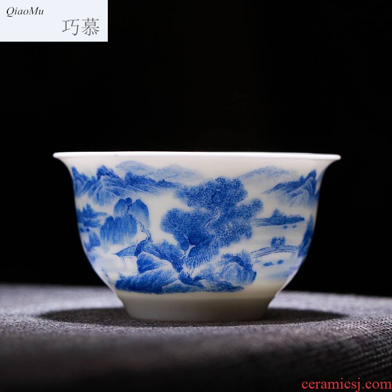 Qiao mu manual pressure billet hand cup jingdezhen glaze color hand - made porcelain under heavy industry jingshan masters cup single cups of water