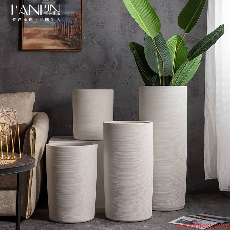 Nordic contracted creative flower pot large clearance of pottery and porcelain household flower arrangement sitting room adornment is placed white ground vase