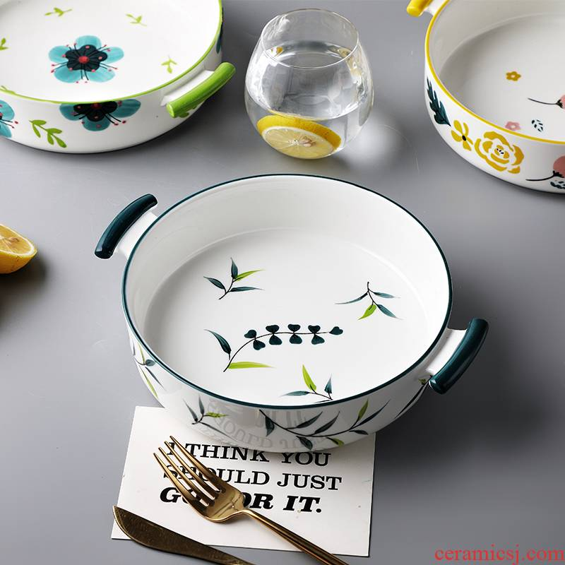 Ceramic ears roasted bowl cheese baked FanPan home 0 # baking dish of boiled fish bowl of soup basin for the job