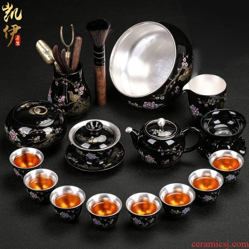 Tasted silver gilding kung fu tea set jingdezhen ceramic tea set home office tea tureen silver cup teapot