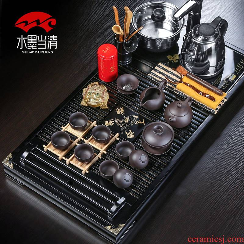 Kung fu tea set automatic water induction cooker four unity kembat drainage solid wood tea tray was purple sand cup suit household