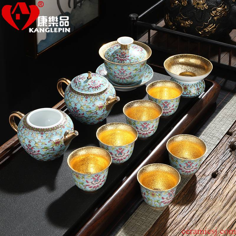 Recreational product gold colored enamel ceramic cups tea set a complete set of kung fu office gold box lid bowl