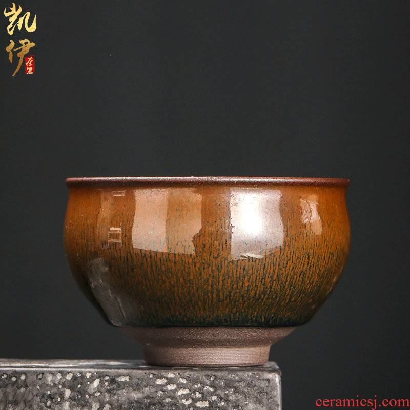 Jianyang TuHao master hand built lamp that host personal kung fu tea cup, single glass ceramic cup tea cups