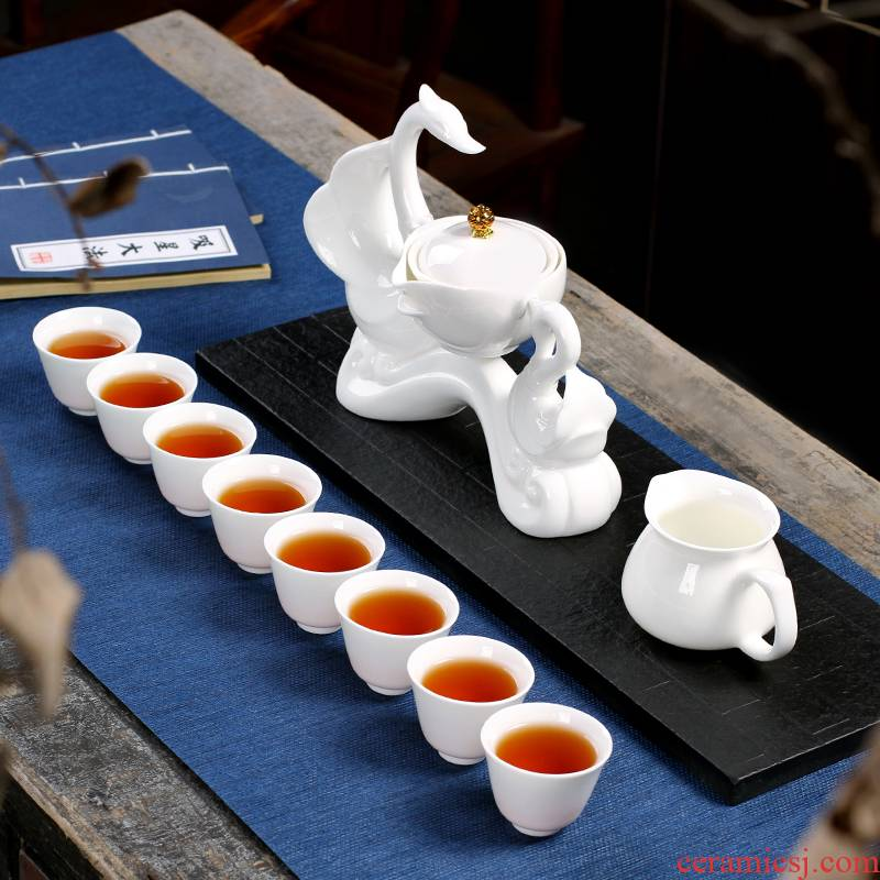 The Poly real scene suet jade white porcelain tea set custom home lazy hot semi - automatic tea service office at large mercifully