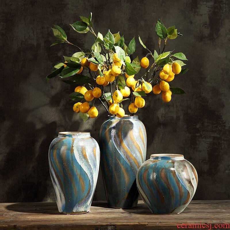 Restoring ancient ways is the American pastoral ceramic vases, flower arrangement sitting room furnishing articles furnishing articles coarse some ceramic pot dry flower decoration porcelain