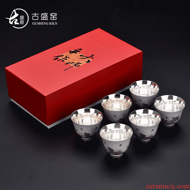 The ancient sheng up new gift boxes pure ceramic cups tasted silver gilding kung fu tea set a master cup single cup sample tea cup drawing