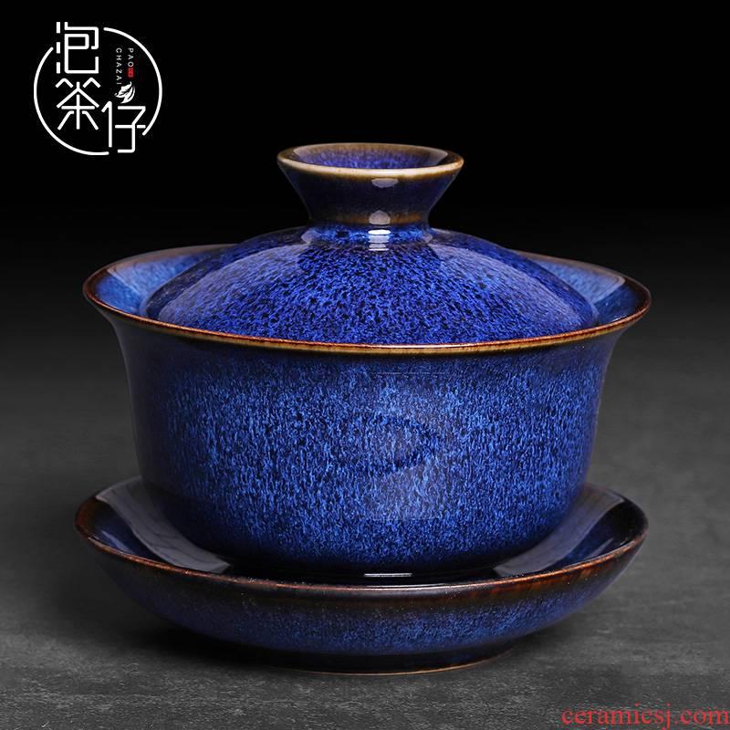 Tea seed kung fu Tea set cover TuHao three masterpieces to tureen Tea cups a single household ceramics trumpeter pot