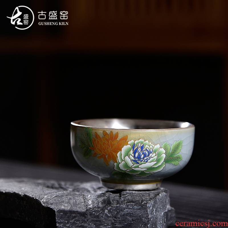 Ancient sheng up new peony silver household ceramic cups ru up market metrix who cup single CPU kunfu tea light to use color bucket
