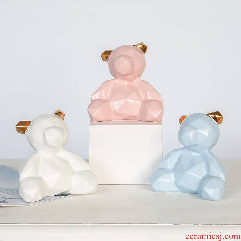 Geometric ceramic express teddy bear bear furnishing articles Nordic household act the role ofing is tasted modern decoration creative gift items