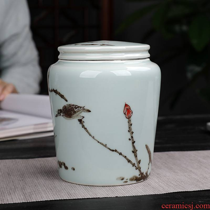 Hand - made shadow blue glaze painting of flowers and tea pot creative move fashion ceramic seal POTS with moisture storage tank