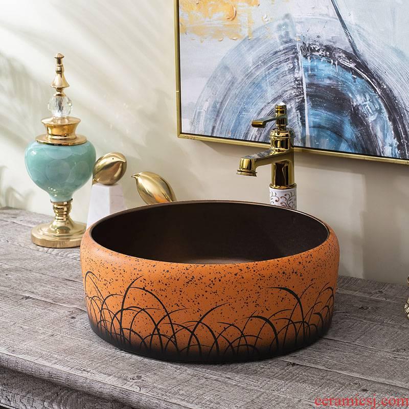 Household washing basin ceramic toilet lavatory circle European art the sink basin stage basin to the balcony