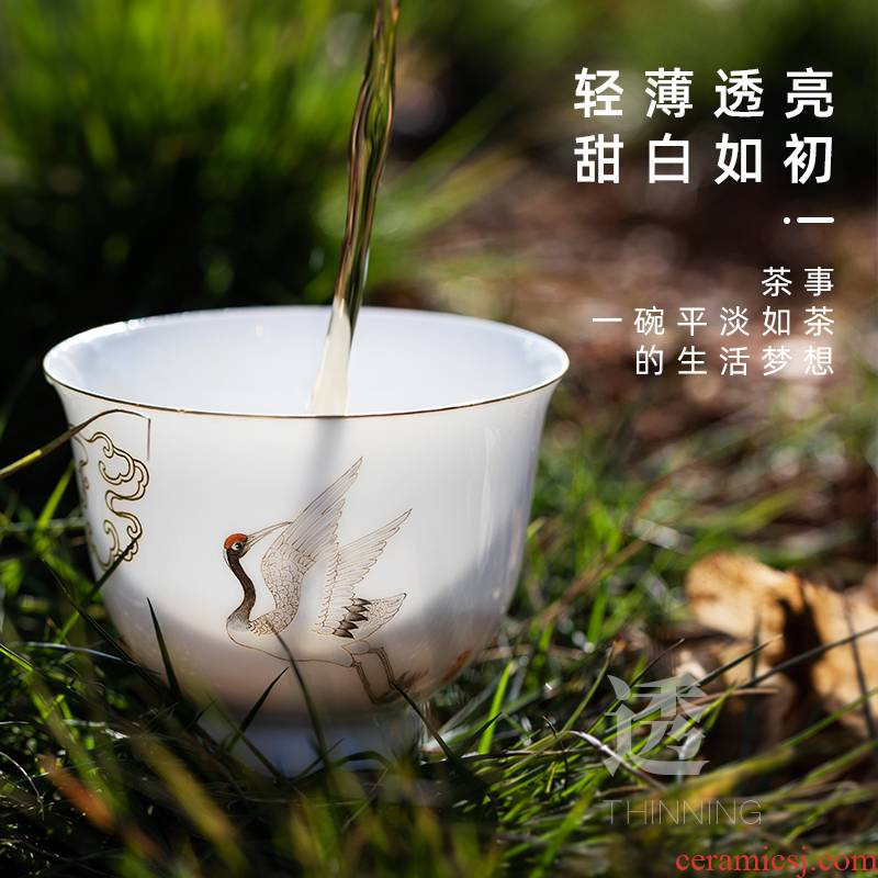 The Master cup sample tea cup hand - made James t. c. na was published pure manual thin body white porcelain tea sets kung fu tea into a cup