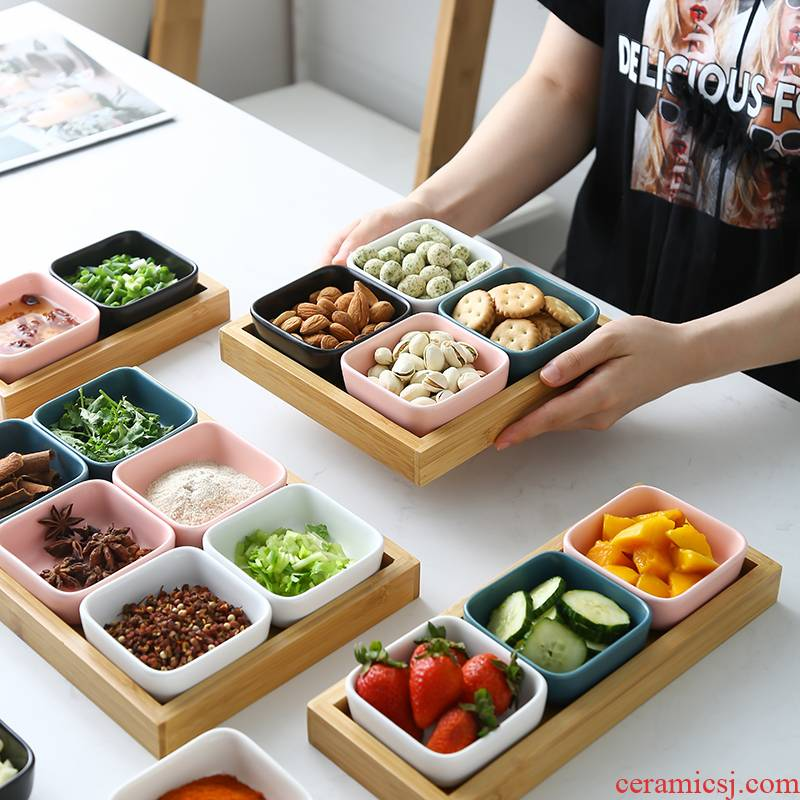 The Nordic idea Japanese bamboo frame ltd. ceramic foot bath hotels dip seasoning ingredients hotpot snacks flavor dishes