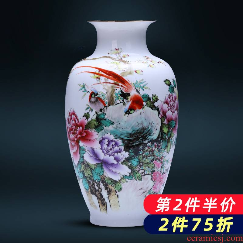 Jingdezhen ceramics powder enamel thin foetus vase sitting room porch flower arranging new Chinese style household adornment furnishing articles