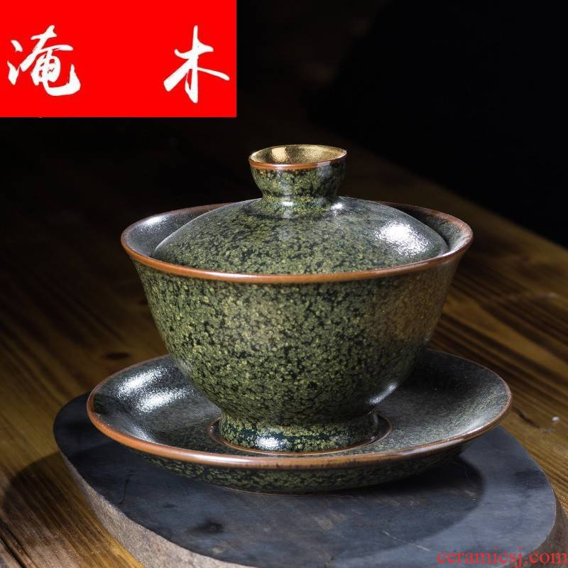 Submerged wood good fortune ceramic tureen large only three bowl tea glaze thick ceramic cup at the end of the Japanese kung fu tea set