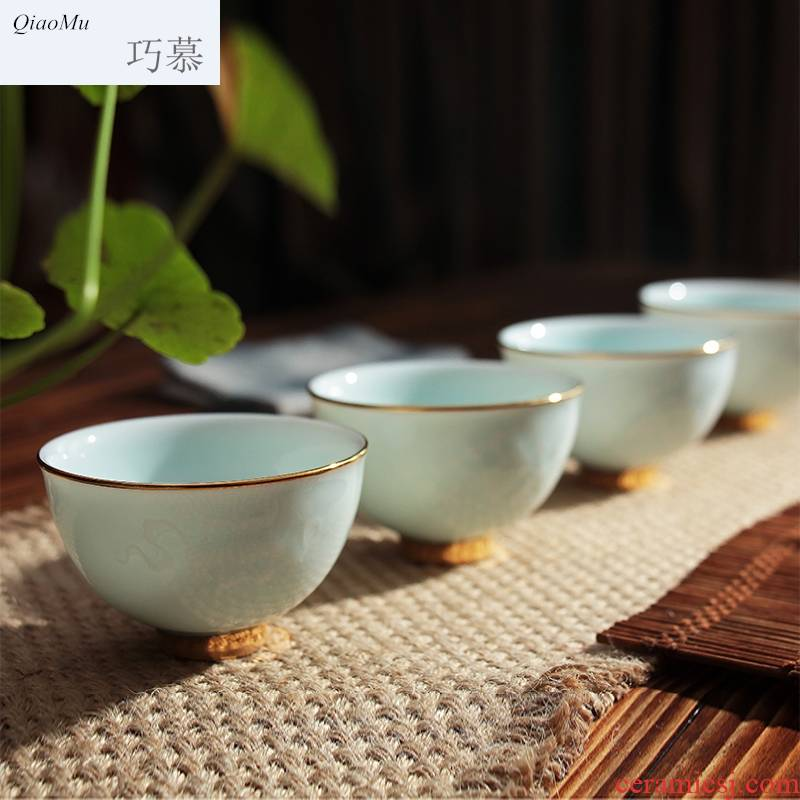 Qiao mu kung fu tea cups sample tea cup jingdezhen ceramic celadon hand - made paint pu - erh tea cup single CPU