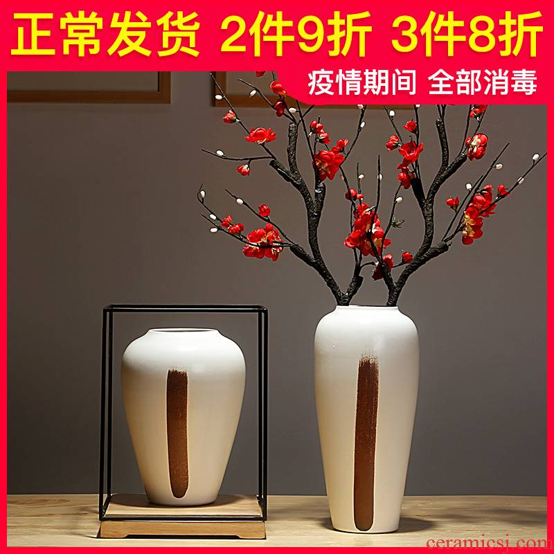 Jingdezhen ceramics vase manual creative new Chinese style porch sitting room adornment furnishing articles simulation flower flowers, dried flowers