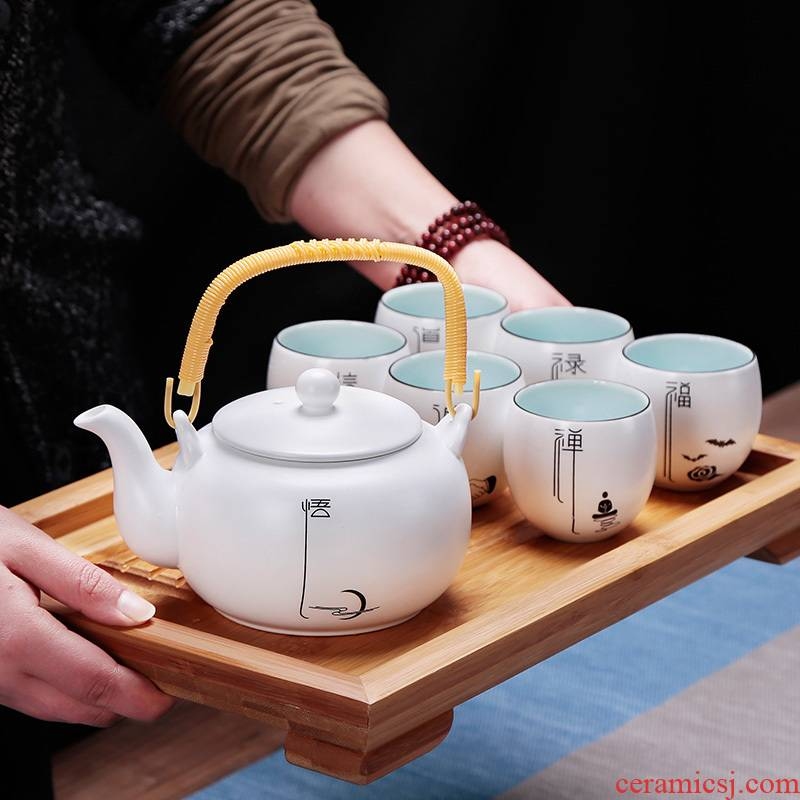 6 Small kung fu tea set suit household contracted and I Japanese simple ceramic tea cup a large tea tray