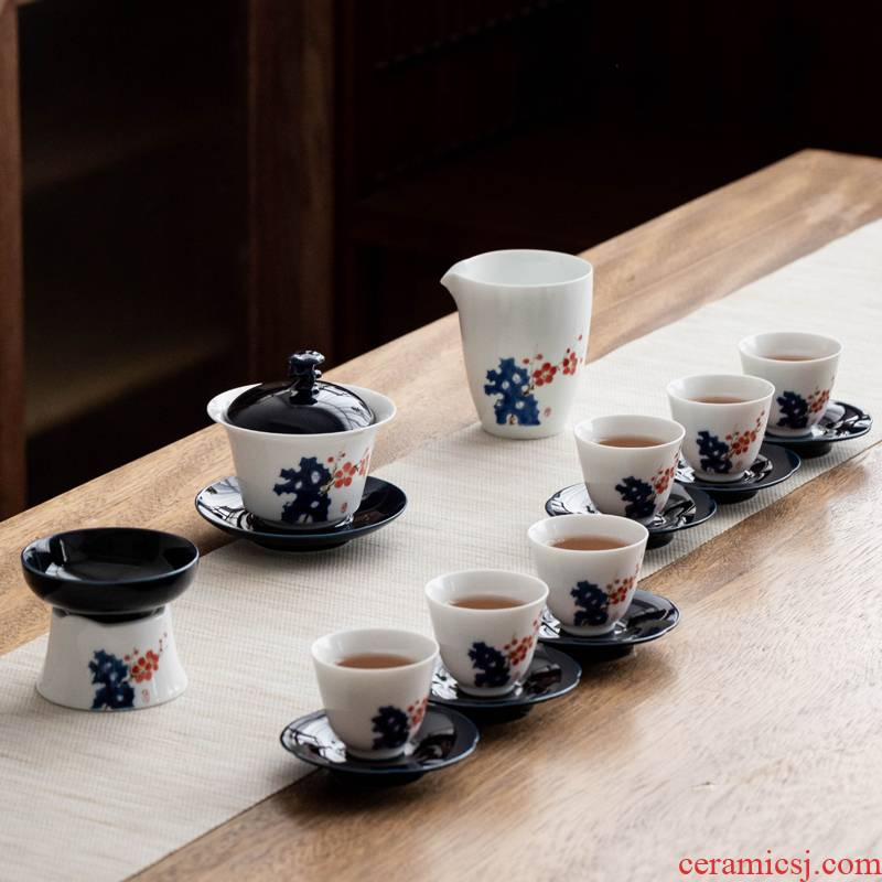 The Poly real scene hand - made by patterns kung fu tea set household gifts ceramic tea set is contracted