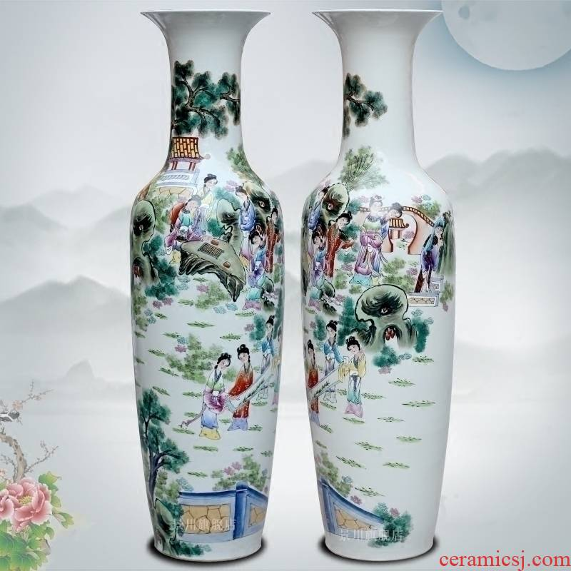 Jingdezhen household living room hand - made famille rose had large vases, beauty character ceramics furnishing articles