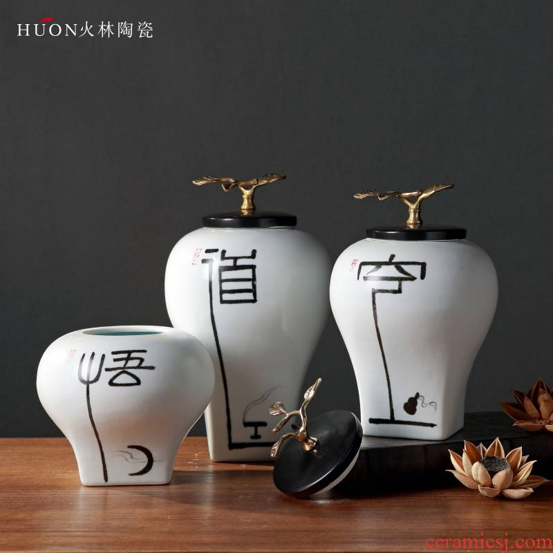 The New Chinese vase furnishing articles zen ceramics with cover pot creative hand - made example room sitting room porch flower arranging furnishings
